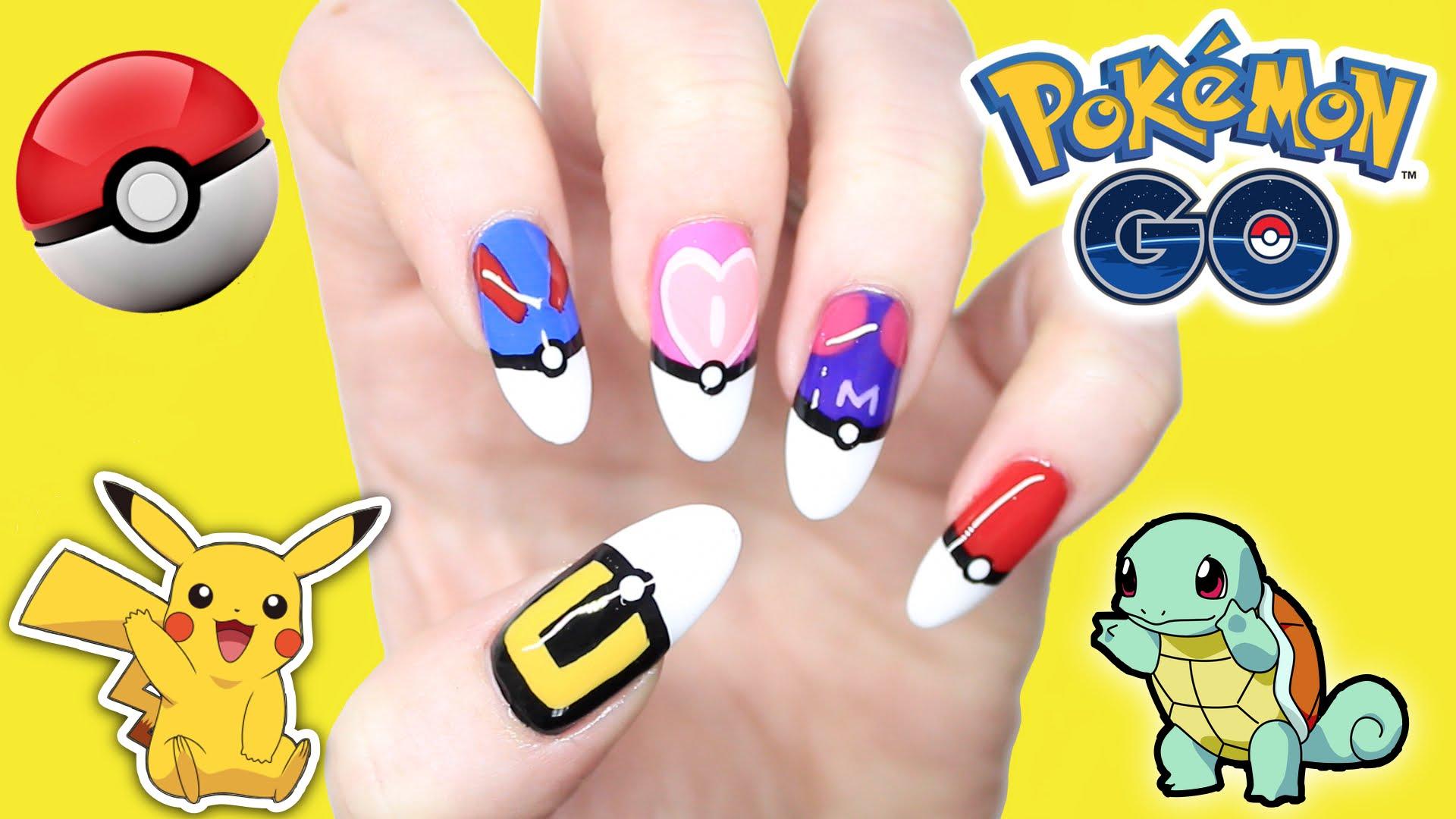 Cách vẽ móng tay hình Pokemon GO