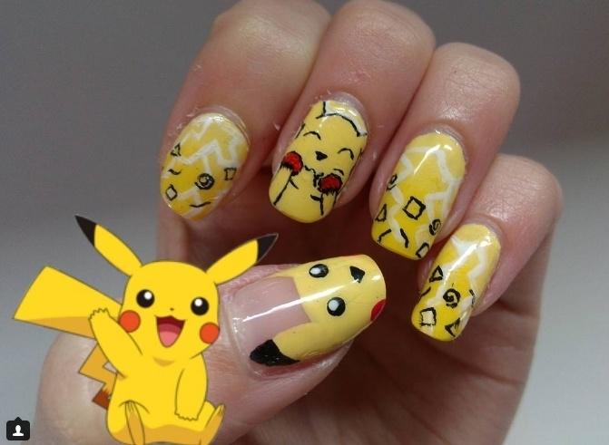 cách vẽ móng tay hình Pokemon
