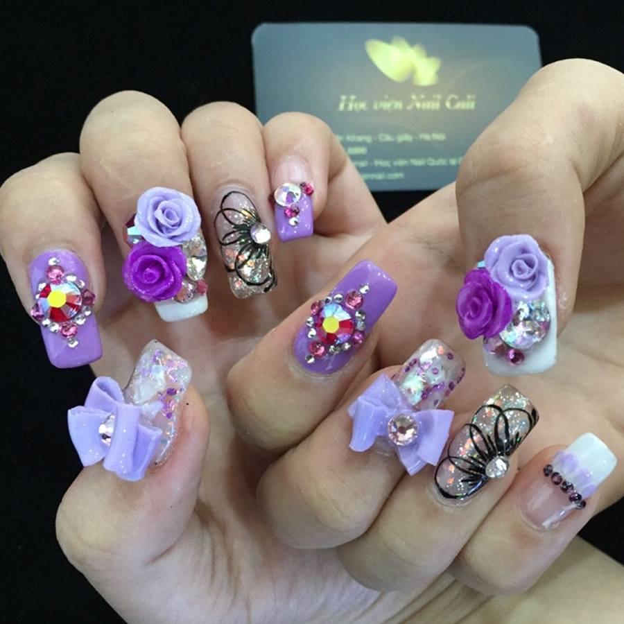 dạy làm móng tay hoa nổi cho chị em thêm lộng lẫy