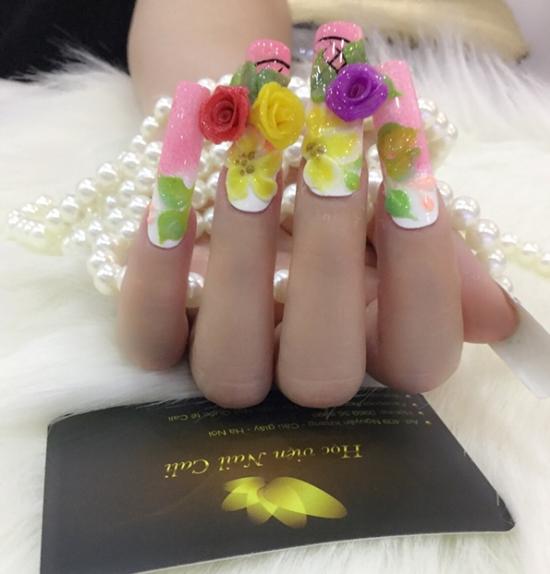 dạy làm móng tay hoa nổi