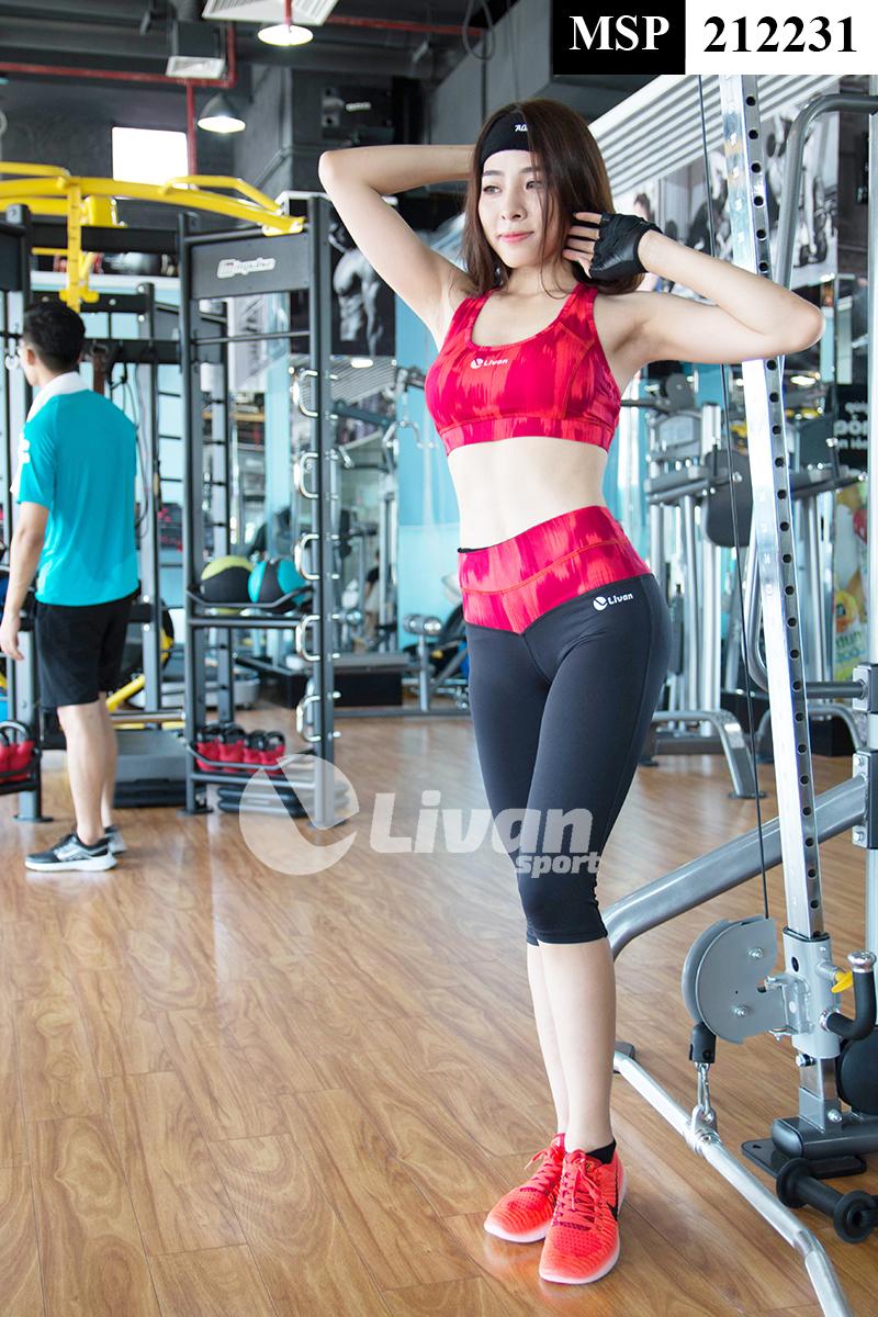 mẫu quần tập gym với điểm nhấn vào phần cạp quần