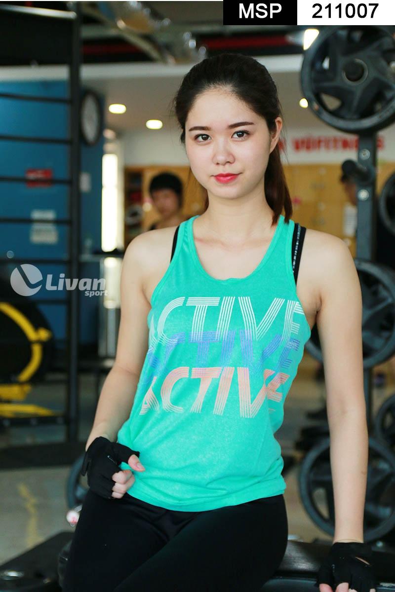 Áo tập gym tanktop màu xanh