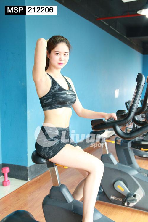 Bộ tập gym quần đùi áo bra HT màu đen