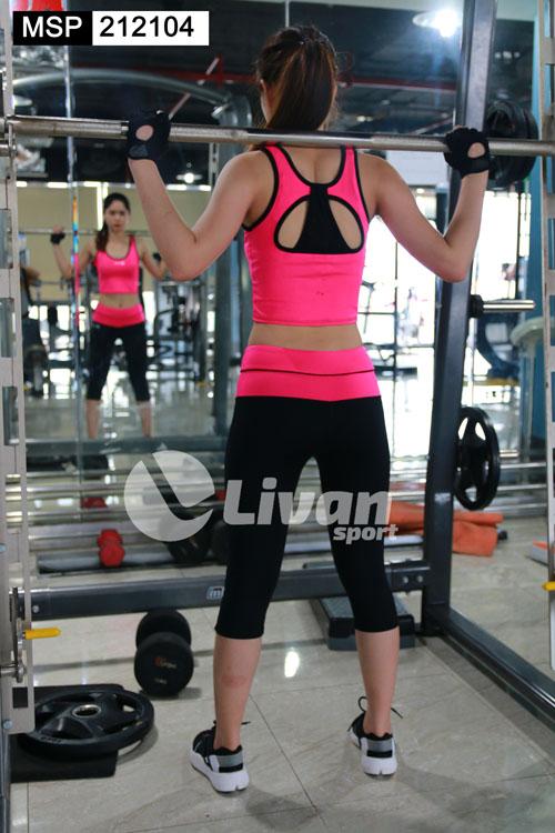Bộ tập gym croptop màu hồng
