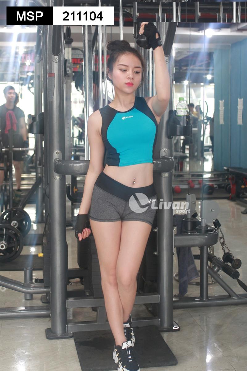 quần đùi tập gym màu ghi cạp đen
