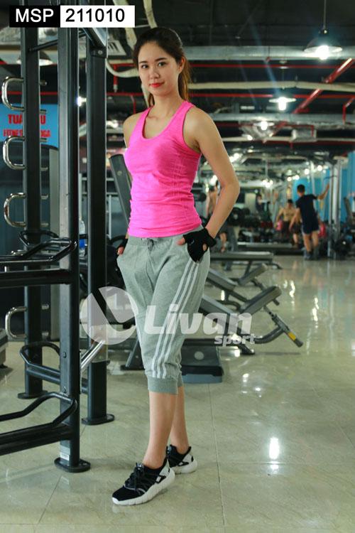 quần tập gym sọc trắng